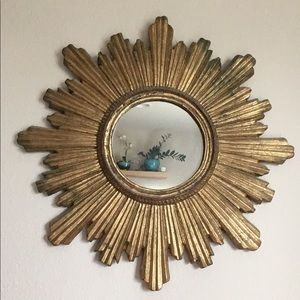 Gold Sun / Star Shaped Wooden Carved Mirror